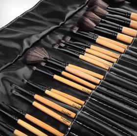 Ellore Femme Make-up und Bürsten-Set 73 Prozent Rabatt Lederetui