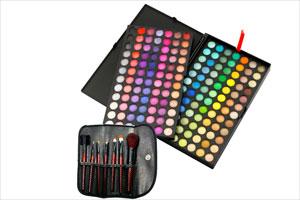 168 Farben Lidschattenpalette Pinsel-Set 7teilig