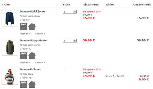 NKD 3 Teile kaufen günstigste gratis Warenkorb