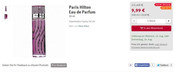 Paris Hilton Eau de Parfum nur 9,99 Euro (60% günstiger)